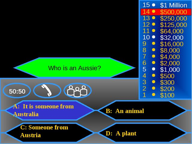 A: It is someone from Australia C: Someone from Austria B: An animal D: A pla...
