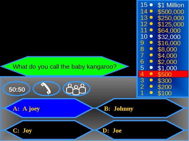 A: A joey C: Joy B: Johnny D: Joe 50:50 15 14 13 12 11 10 9 8 7 6 5 4 3 2 1 $...