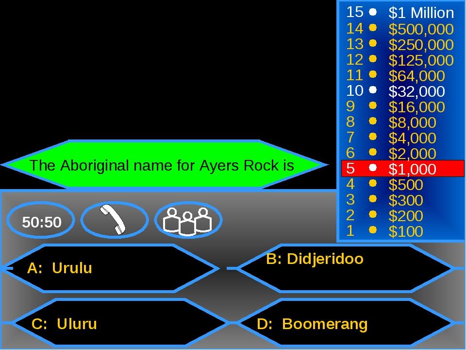 A: Urulu C: Uluru B: Didjeridoo D: Boomerang 50:50 15 14 13 12 11 10 9 8 7 6...