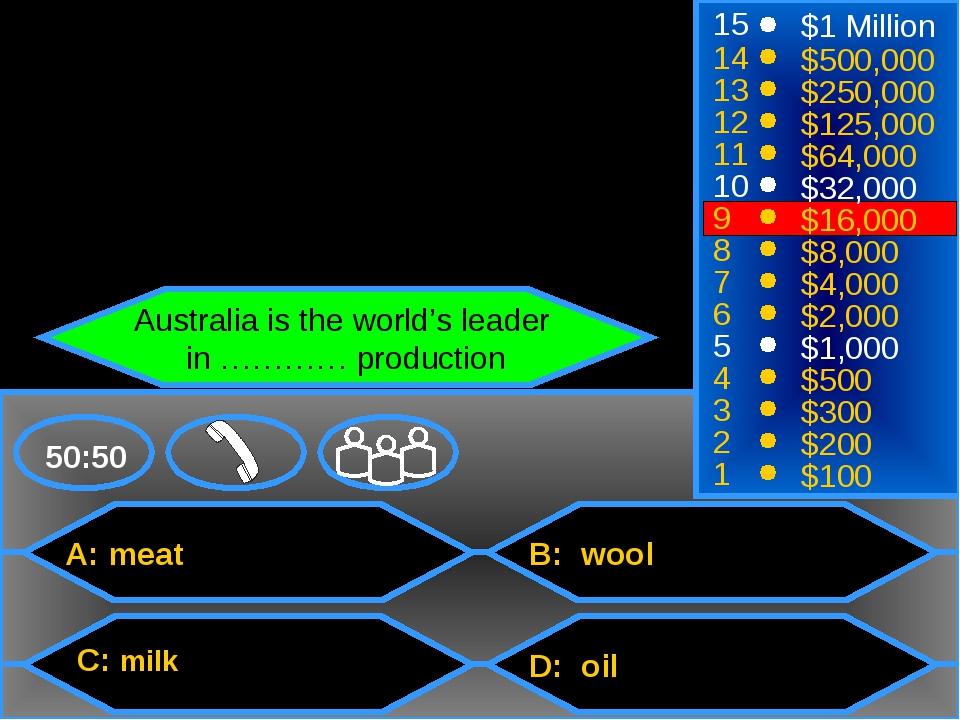 A: meat C: milk B: wool D: oil 50:50 15 14 13 12 11 10 9 8 7 6 5 4 3 2 1 $1 M...