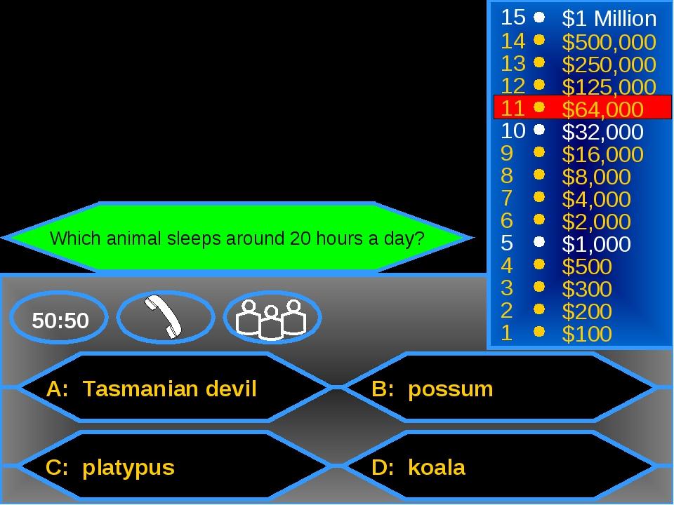 A: Tasmanian devil C: platypus B: possum D: koala 50:50 15 14 13 12 11 10 9 8...