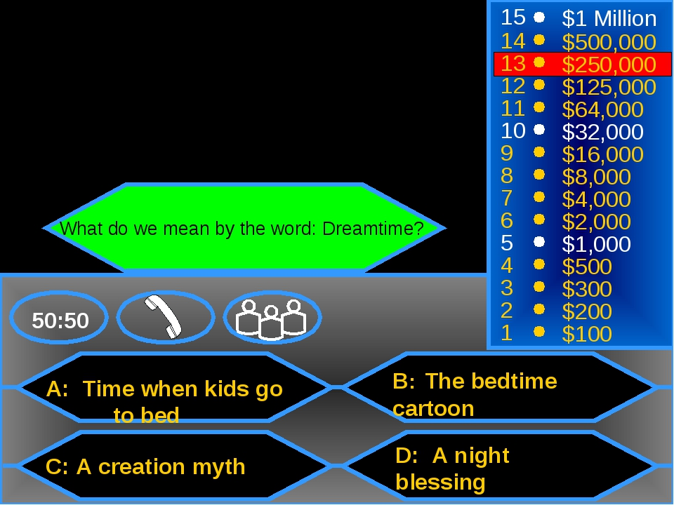 A: Time when kids go 	to bed C: A creation myth B: The bedtime cartoon D: A n...