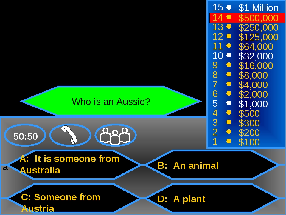 a A: It is someone from Australia C: Someone from Austria B: An animal D: A p...