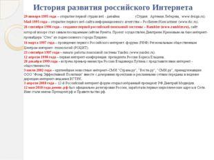 История развития российского Интернета 29 января 1995 года – открытие первой