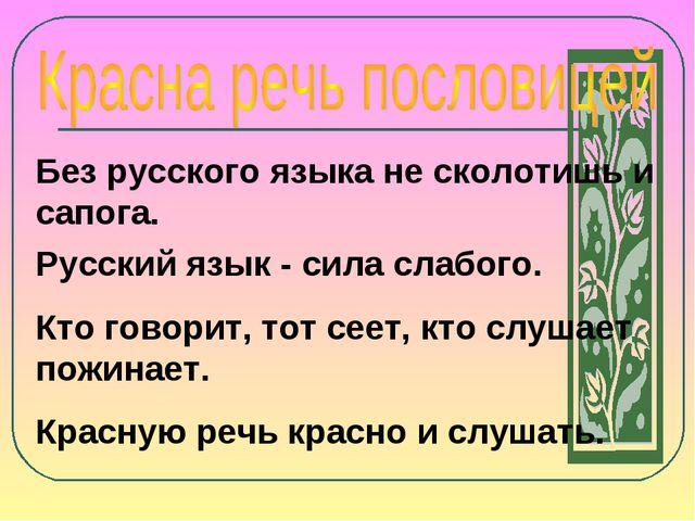 Без русского языка не сколотишь и сапога. Русский язык - сила слабого. Кто го...