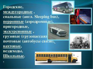 Городские, междугородные, спальные(англ. Sleeping bus), перронные (аэродром