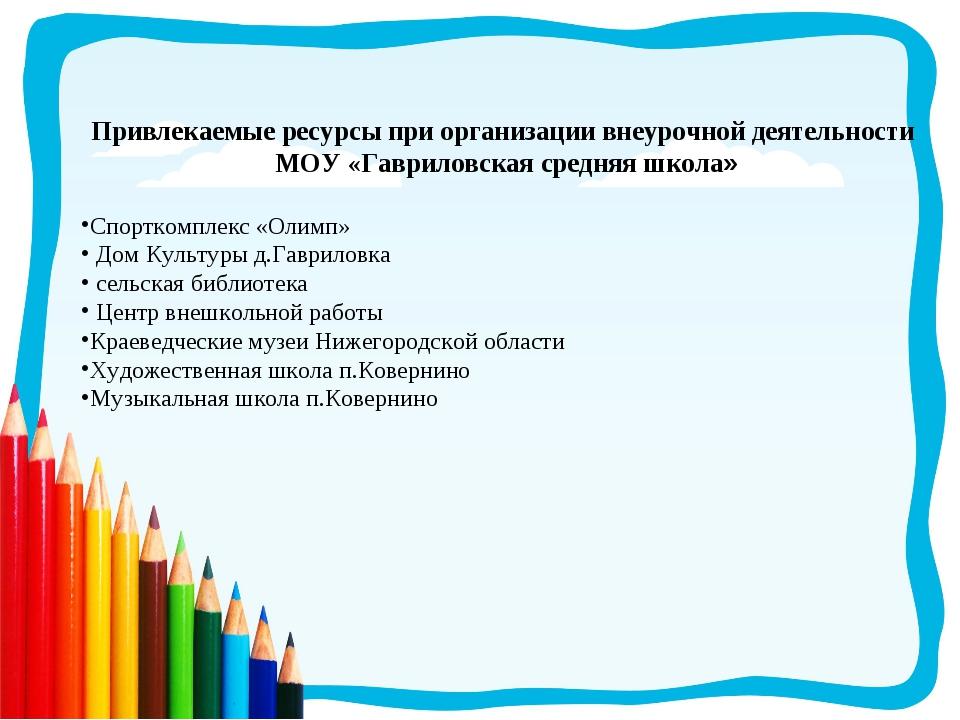 Привлекаемые ресурсы при организации внеурочной деятельности МОУ «Гавриловска...