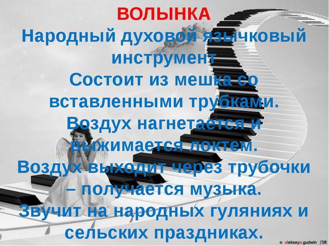 ВОЛЫНКА Народный духовой язычковый инструмент Состоит из мешка со вставленным...