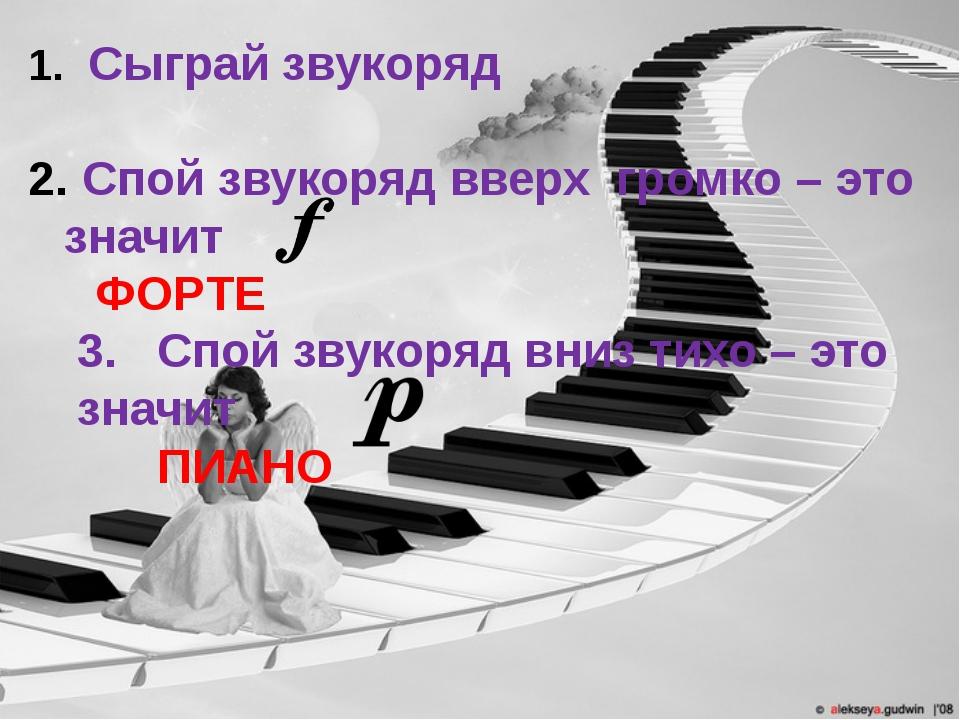 Сыграй звукоряд Спой звукоряд вверх громко – это значит ФОРТЕ 3. Спой звукор...