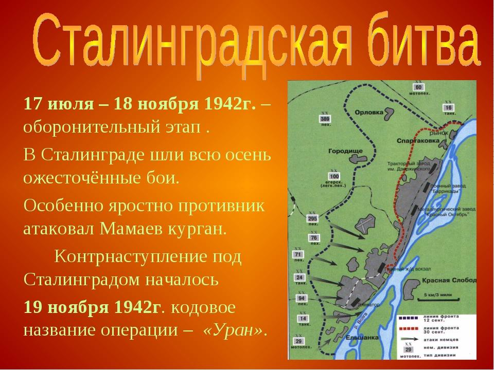 17 июля – 18 ноября 1942г. – оборонительный этап . В Сталинграде шли всю ос...