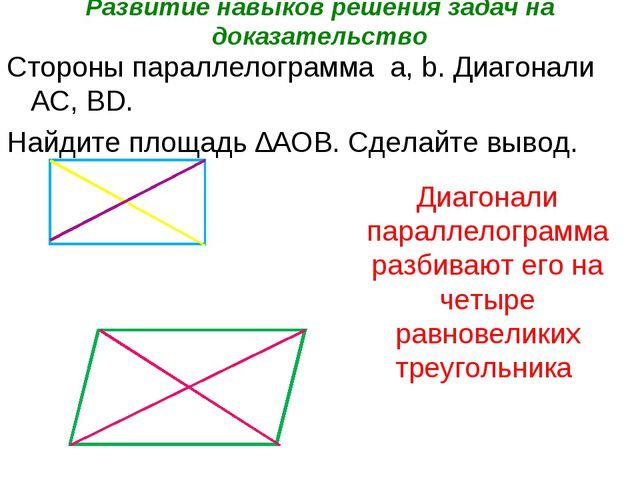 Развитие навыков решения задач на доказательство Стороны параллелограмма а, b...