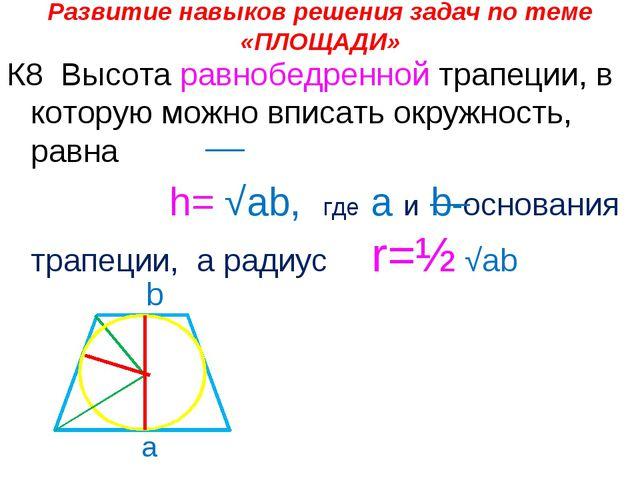 Развитие навыков решения задач по теме «ПЛОЩАДИ» К8 Высота равнобедренной тра...