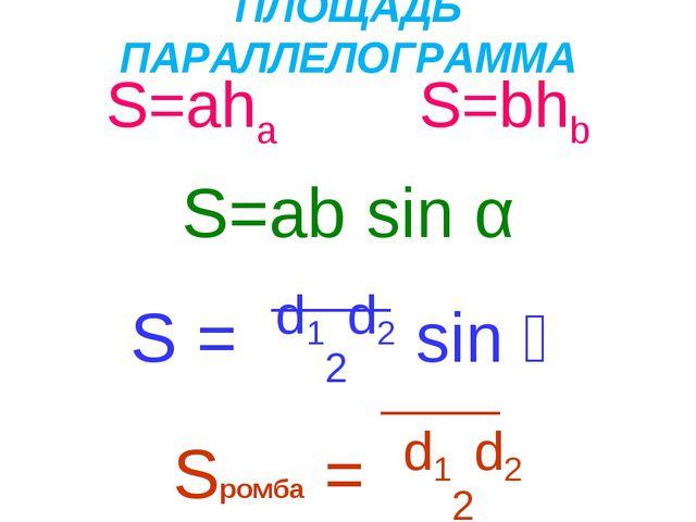 ПЛОЩАДЬ ПАРАЛЛЕЛОГРАММА S=aha S=bhb S=ab sin α S = d12d2 sin ϕ Sромба = d12d2