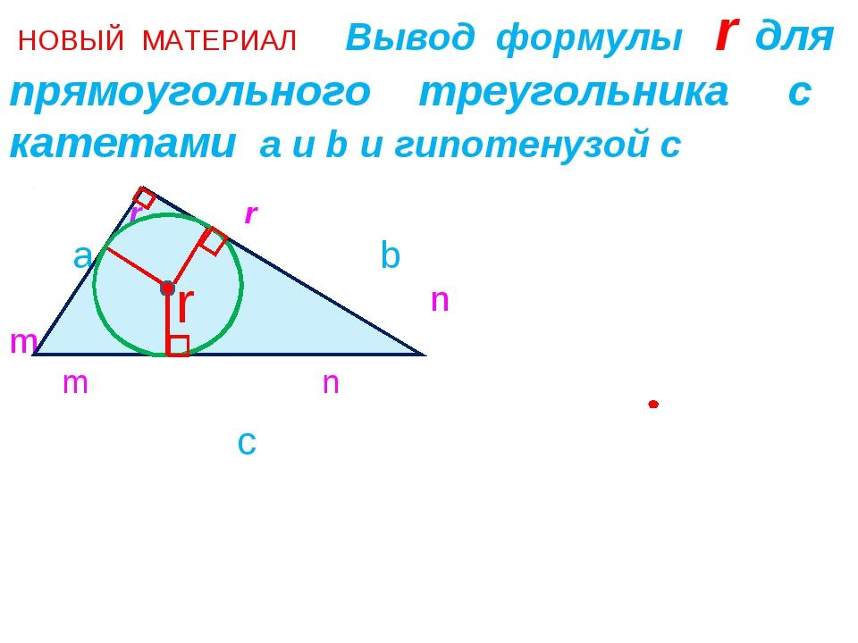 НОВЫЙ МАТЕРИАЛ Вывод формулы r для прямоугольного треугольника с катетами а...