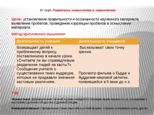 IV этап. Первичное осмысление и закрепление. Цели: установление правильности