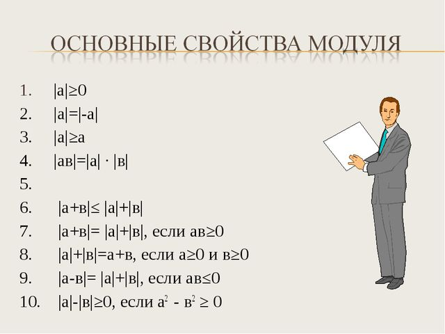 1. |а|≥0 2. |а|=|-а| 3. |а|≥а 4. |ав|=|а| · |в| 5. 6. |а+в|≤ |а|+|в| 7. |а+в|...