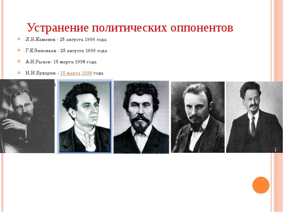 Устранение политических оппонентов Л.Б.Каменев - 25 августа 1936 года Г.Е.Зин...
