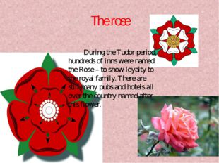 The rose During the Tudor period, hundreds of inns were named the Rose – to s