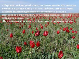 - Наргиля стой, не делай этого, ты что не знаешь что тюльпан внесена в красну