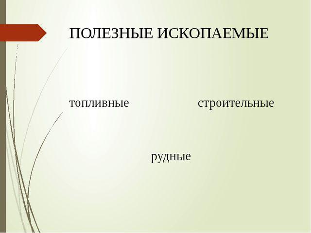 ПОЛЕЗНЫЕ ИСКОПАЕМЫЕ топливные строительные рудные