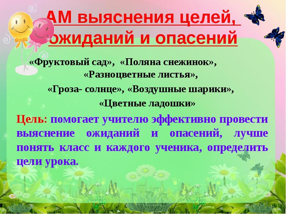«Фруктовый сад», «Поляна снежинок», «Разноцветные листья», «Гроза- солнце», «...