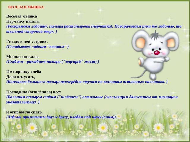 ВЕСЕЛАЯ МЫШКА Весёлая мышка Перчатку нашла, (Раскрываем ладошку, пальцы рас...