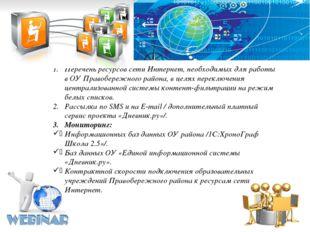 Перечень ресурсов сети Интернет, необходимых для работы в ОУ Правобережного р