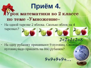 Приём 4. 2+2+2+2=8 Урок математики во 2 классе по теме «Умножение» На одной т