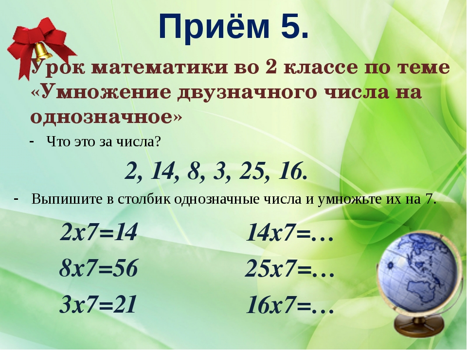 Приём 5. Урок математики во 2 классе по теме «Умножение двузначного числа на...