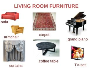 LIVING ROOM FURNITURE carpet grand piano sofa armchair curtains coffee table