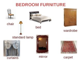 BEDROOM FURNITURE bed chair standard lamp wardrobe carpet mirror curtains