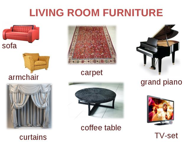 LIVING ROOM FURNITURE carpet grand piano sofa armchair curtains coffee table...