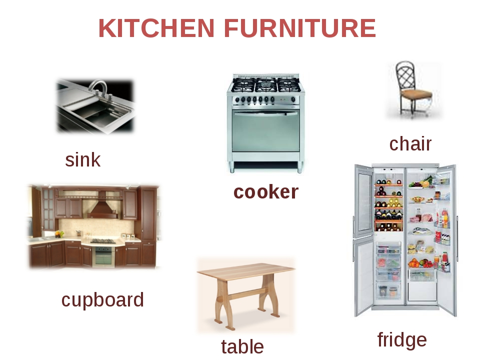 KITCHEN FURNITURE cooker table fridge chair cupboard sink