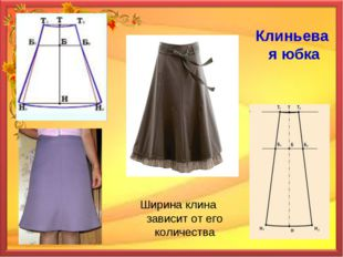 Клиньевая юбка Ширина клина зависит от его количества