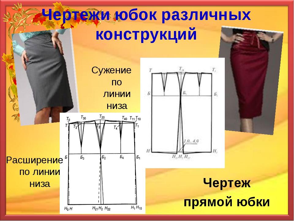 Чертежи юбок различных конструкций Чертеж прямой юбки Расширение по линии низ...