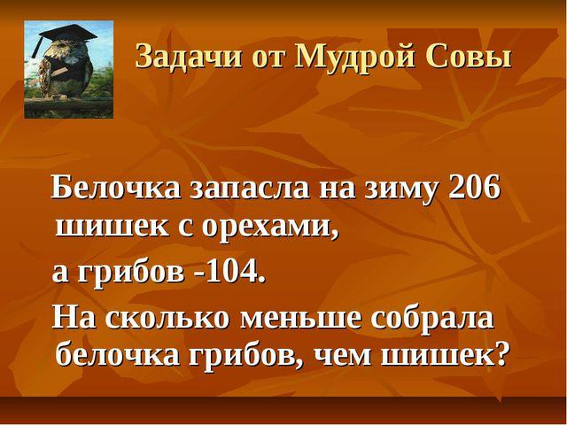 Задачи от Мудрой Совы Белочка запасла на зиму 206 шишек с орехами, а грибов...