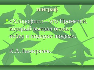 эпиграф «Хлорофилл – это Прометей, который выкрал огонь с небес и подарил люд