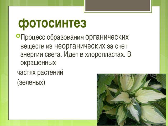 фотосинтез Процесс образования органических веществ из неорганических за счет...