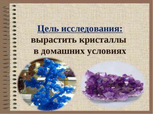 Цель исследования: вырастить кристаллы в домашних условиях