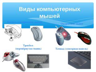 Оптико-механические мыши Оптические мыши Трекбол (перевёрнутая мышь) Тачпад