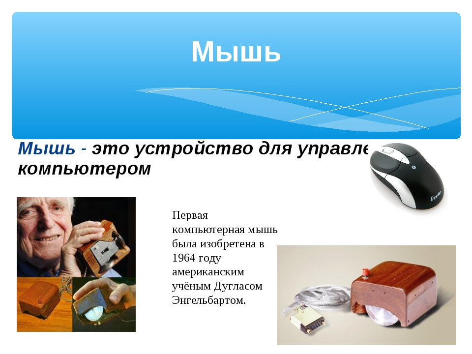 Мышь Мышь - это устройство для управления компьютером Первая компьютерная мыш...