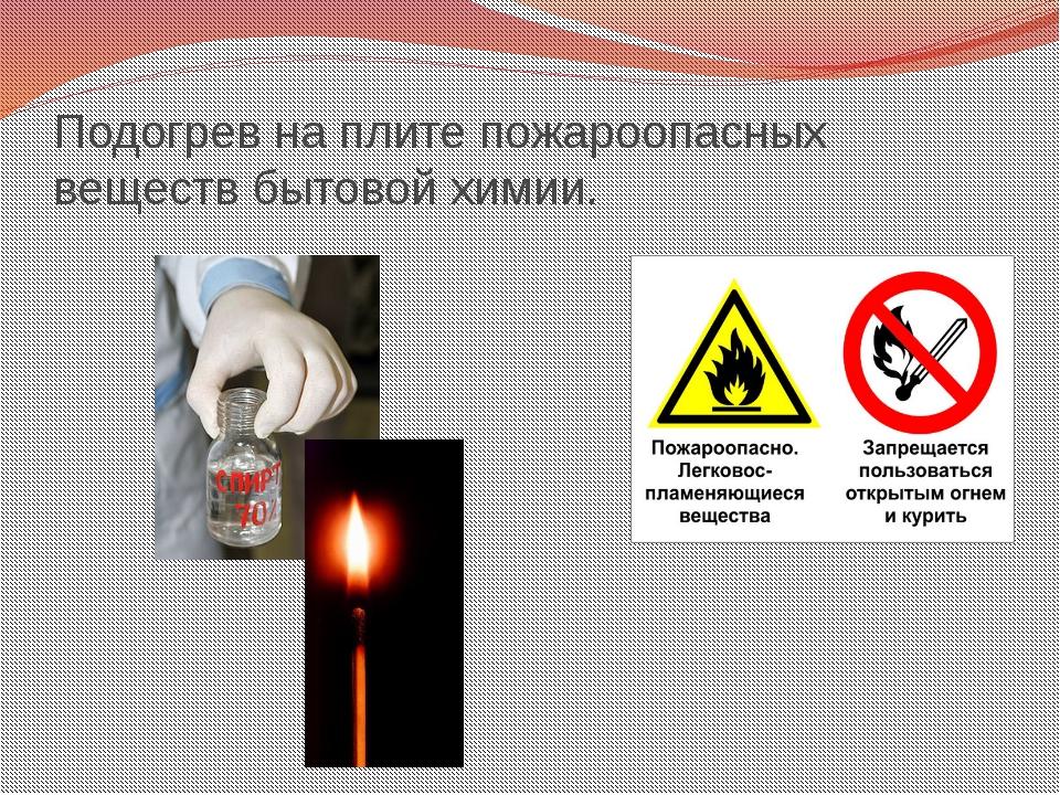Подогрев на плите пожароопасных веществ бытовой химии.