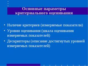 Основные параметры критериального оценивания Наличие критериев (измеряемые по