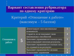 Вариант составления рубрикатора по одному критерию Критерий «Отношение к рабо