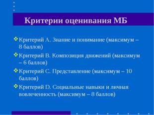 Критерии оценивания МБ Критерий А. Знание и понимание (максимум – 8 баллов) К