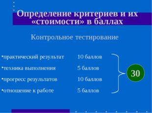 Определение критериев и их «стоимости» в баллах Контрольное тестирование прак