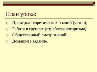 План урока: Проверка теоретических знаний (устно); Работа в группах (отработк