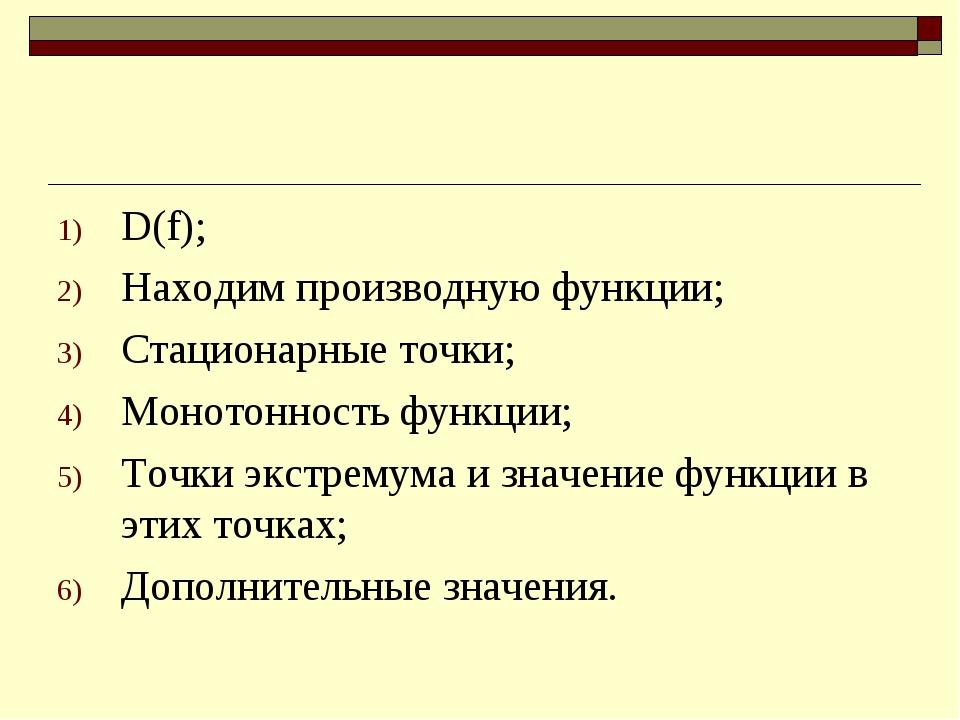 D(f); Находим производную функции; Стационарные точки; Монотонность функции;...