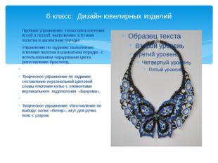 6 класс: Дизайн ювелирных изделий Пробное упражнение: технология плетения игл
