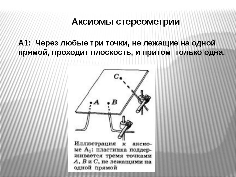 Аксиомы стереометрии А1: Через любые три точки, не лежащие на одной прямой,...